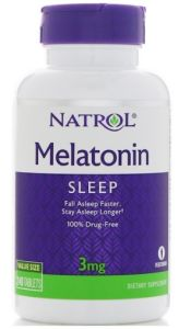 Natrol, Melatonin, 3 mg, 60 таблеток, 60 таблеток