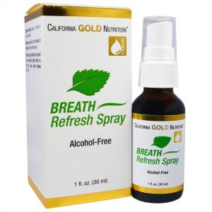 California Gold Nutrtion, Breath Refresh Spray, 30 мл, Натуральная мята
