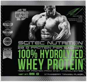 Scitec Nutrition, 100% Hydrolyzed Whey Protein (пробник), 35 грамм, Клубника-Тирамису